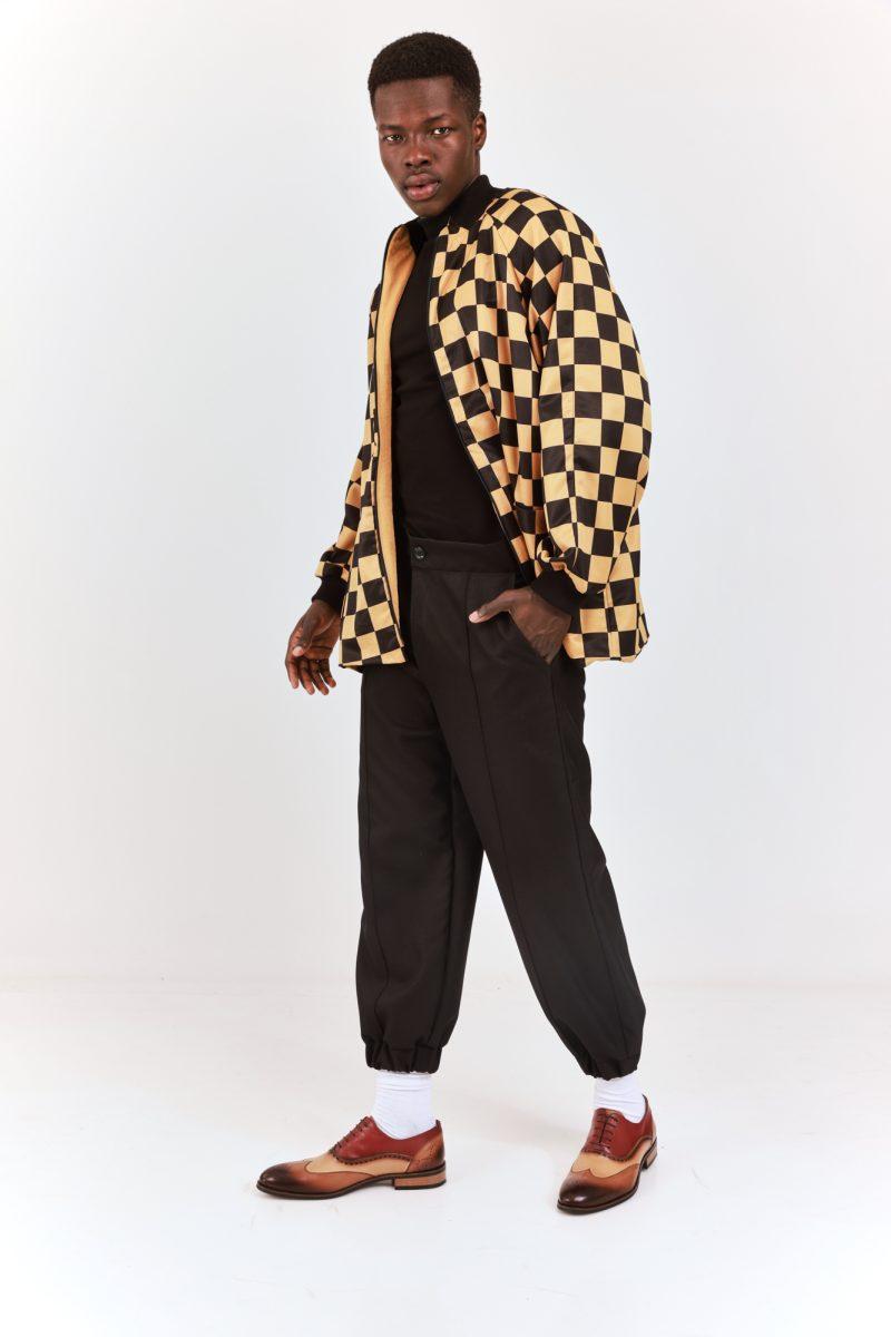 Zip Up Printed Checkered Jacket