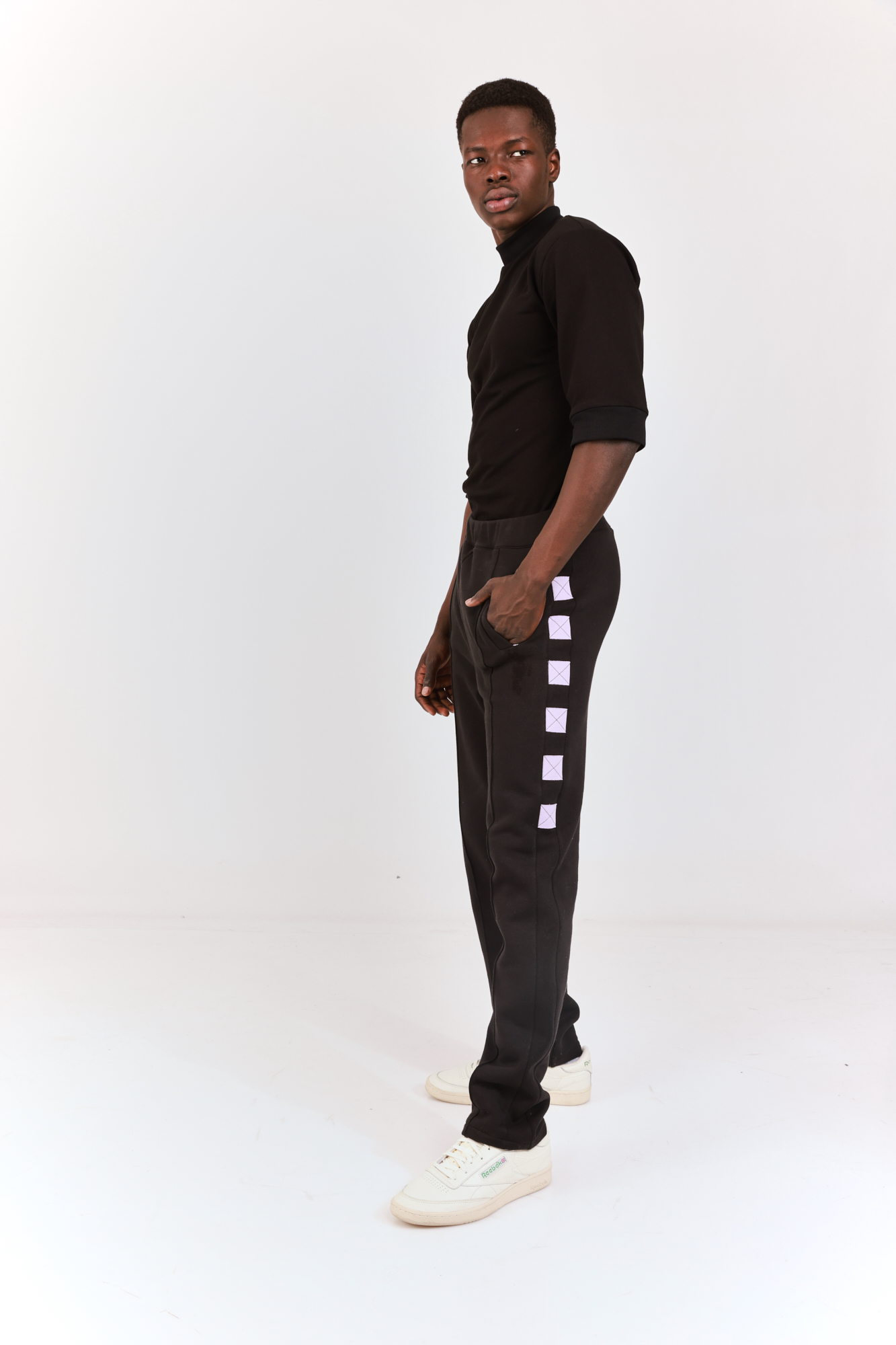 Tailored Sweatpants Black with Lilac squares