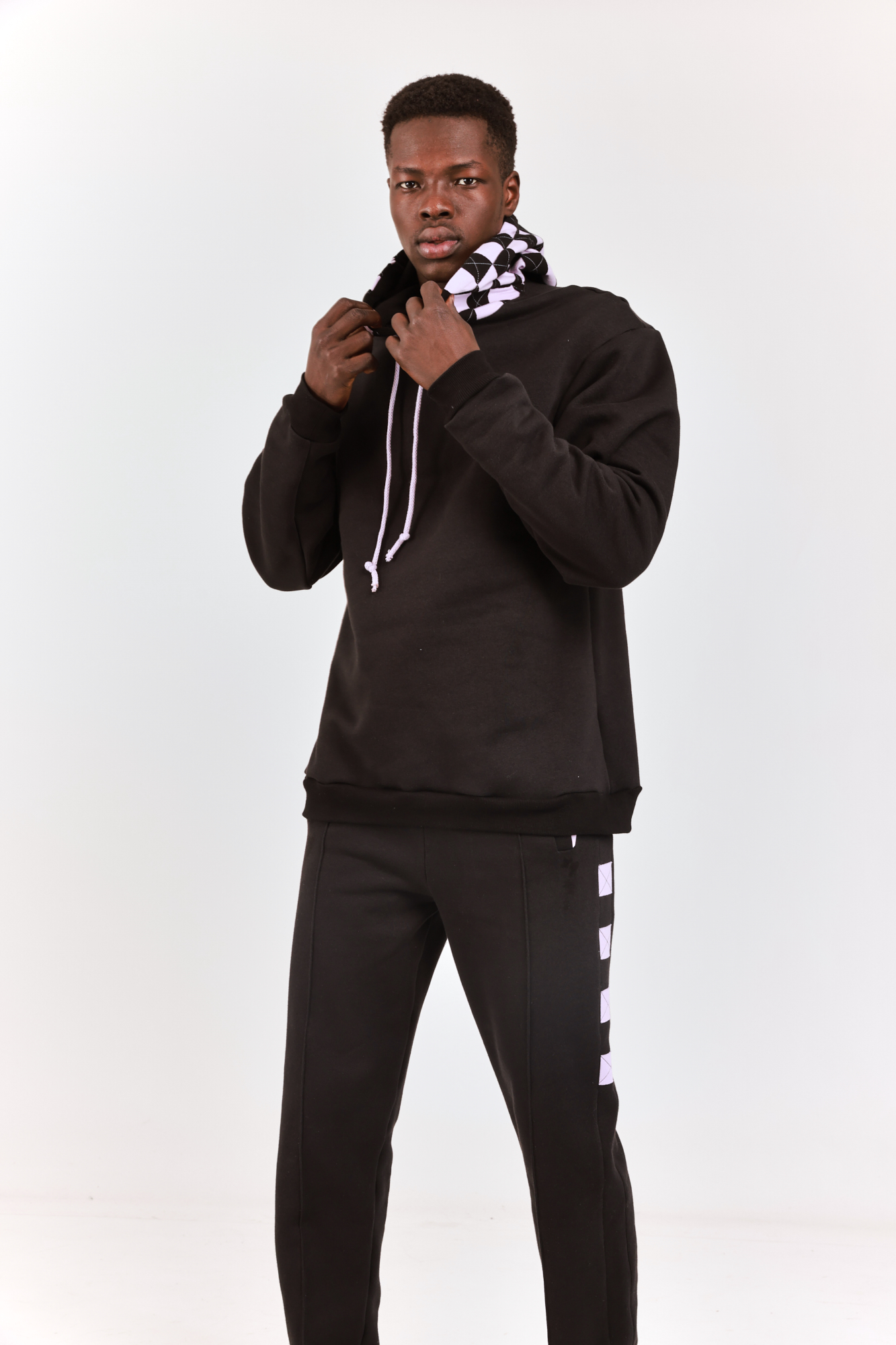 Checkered Hooded Sweatshirt Black with Lilac squares