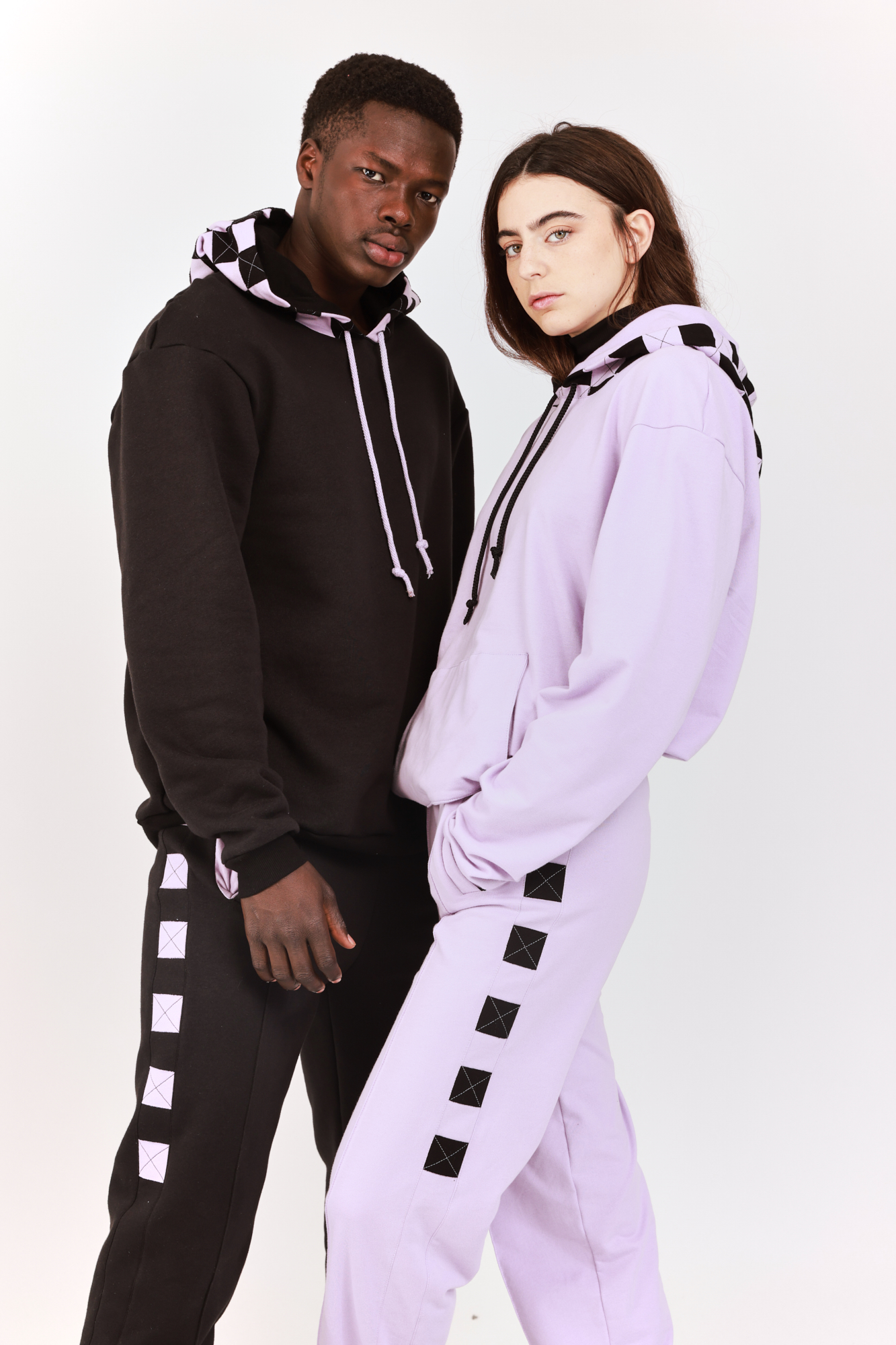 Checkered Hooded Sweatshirt Lilac with Black squares