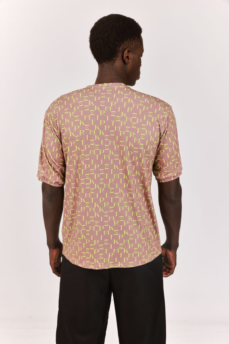 Men Printed T-shirt Brown with bright Green