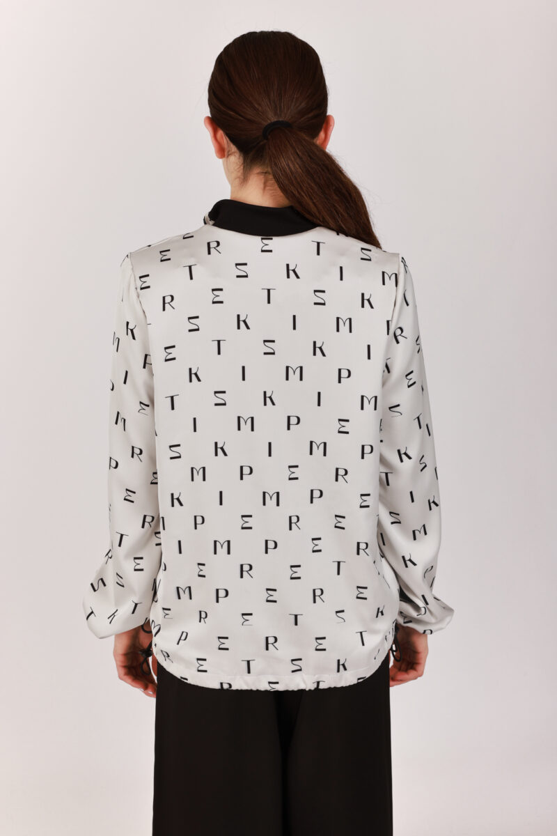 Printed Satin Bomber Jacket Silver Gray with Black