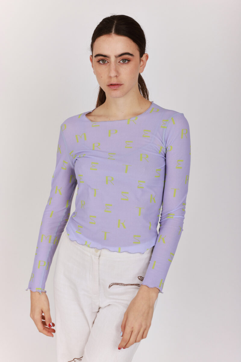 Women Printed Top Lilac with bright Green